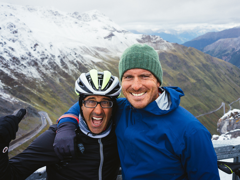 Founder Andy Levine and friend on Stelvio Pass, Italy