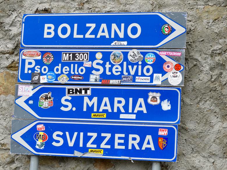 Italian road sign for Stelvio Pass