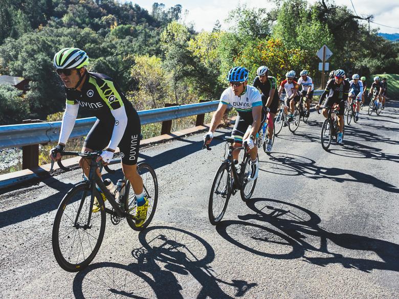 Cyclists on a climb in Sonoma, California, U.S.A.