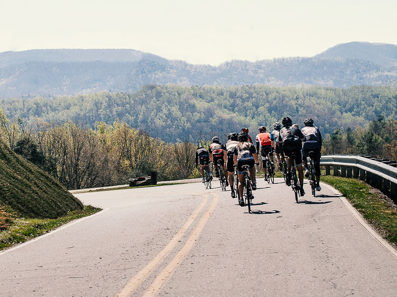 Group of cyclists in Greenville, South Carolina