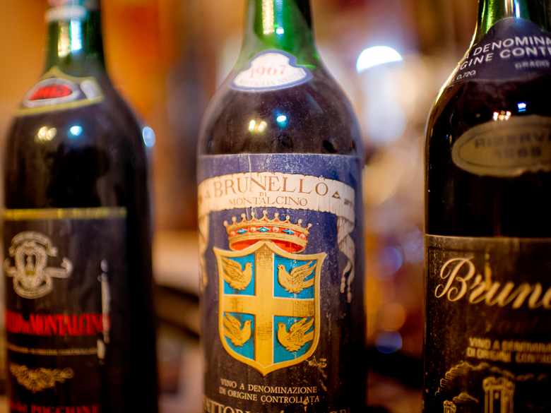 Vintage bottle of Brunello wine