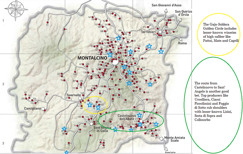 Map of Montalcino with wine producers plotted