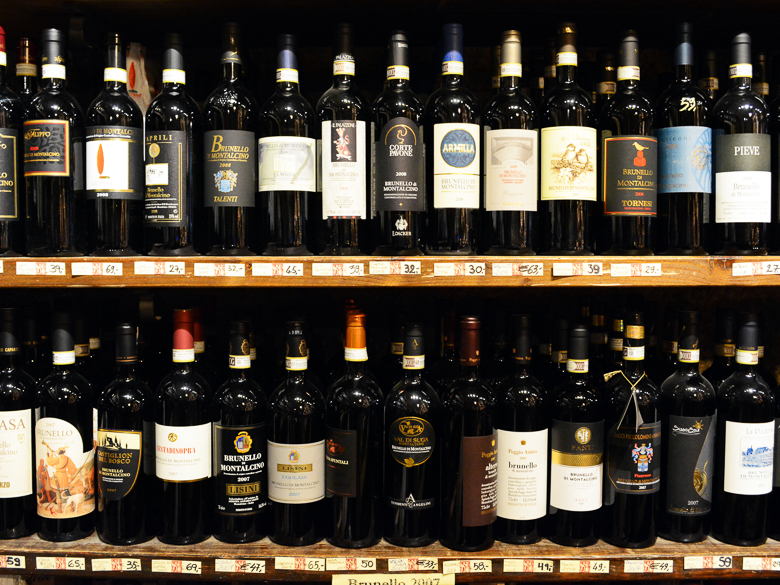 Shelf of Bruenllo di Montalcino wine