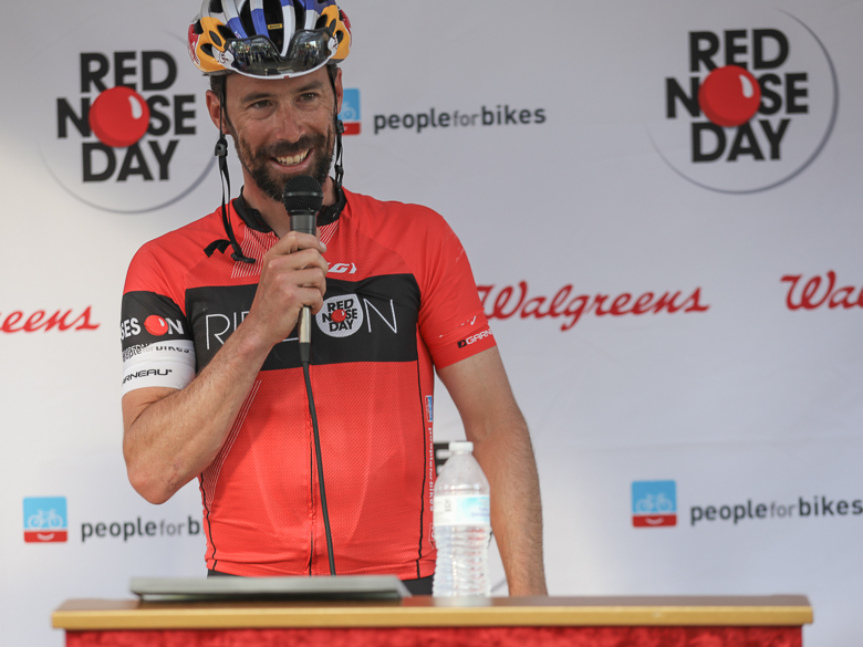 Pro cyclist Tim Johnson speaks on behalf of Ride On For Red Nose Day