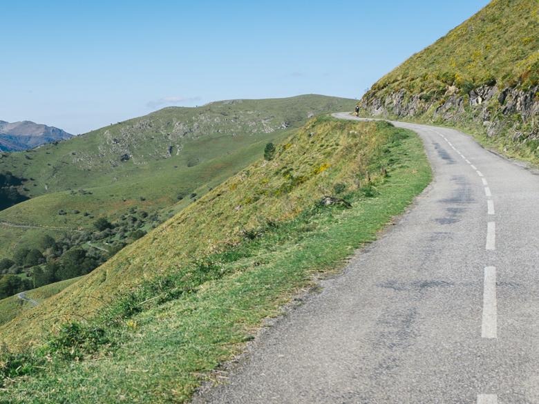 Road to Col Arangaïtz in the Pyrenees mountain range, France