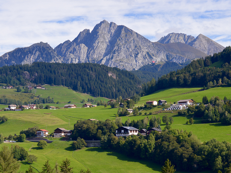 Valley before San Genesio in the Dolomites, Italy