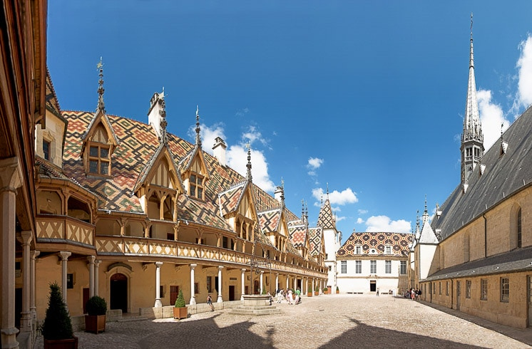 Hospices de Beaune as seen from the interior courtyard, with glazed tile roof