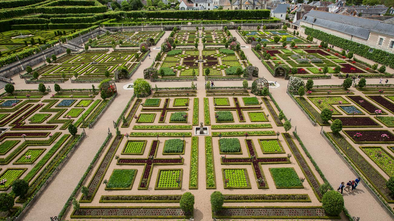 Aerial view of decorative gardens in checkerboard pattern at Château de Villandry in Loire Valley, France