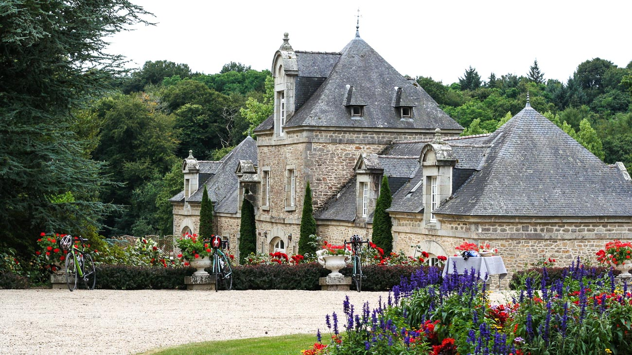 Exterior and gardens of Hotel Château de Locguénolé in Brittany, France