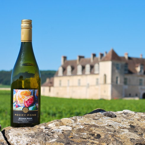 A bottle of white wine from Rocky Pond Winery at Clos de Vougeot