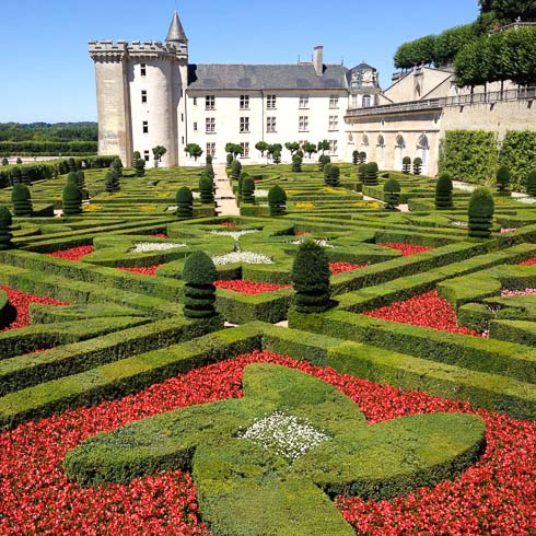 Manicured gardens of hedges and red flowers, with Château de Villandry castle in the background