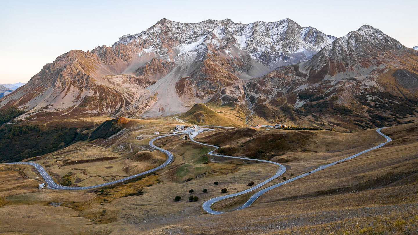 Mountains and winding road in the French Alps