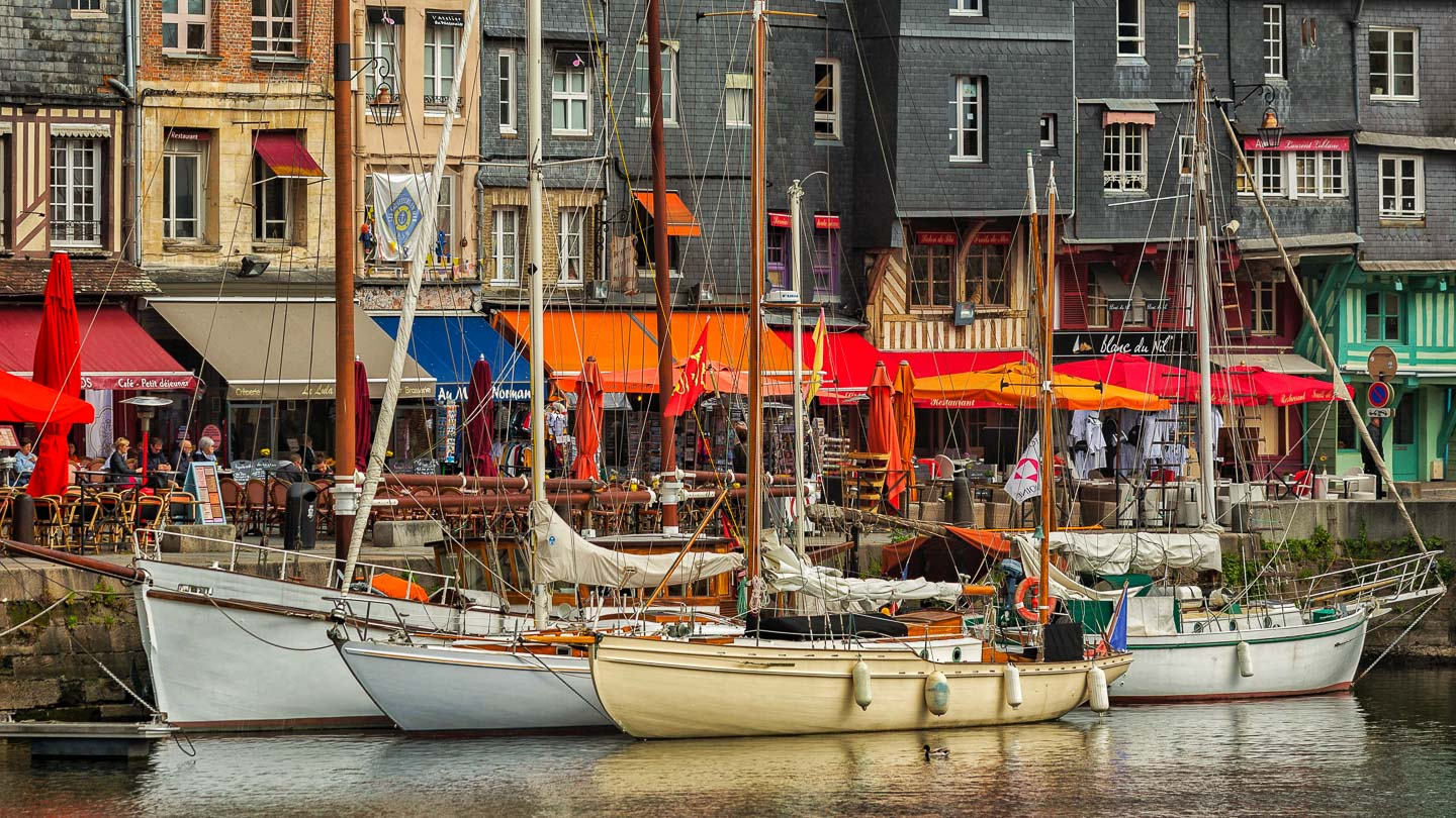 Sailboats in the harbor at Honfleur, Normandy, France