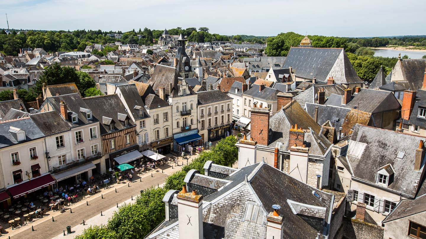 Aerial view of slate rooftops in the village of Amboise, Loire Valley, France