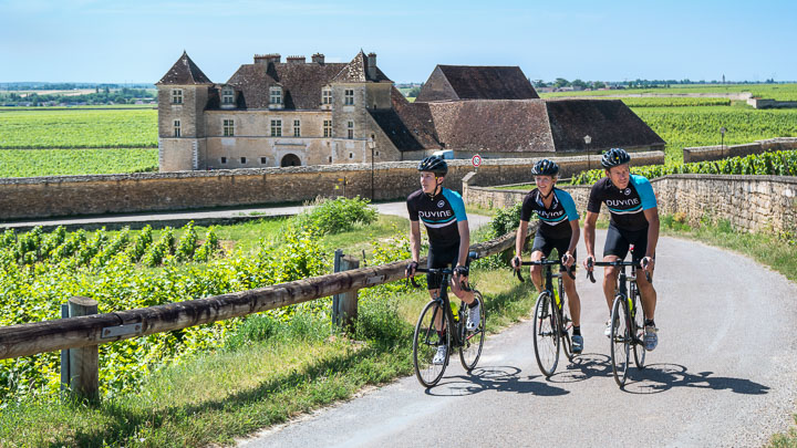 Three cyclists wearing DuVine jerseys ride away from the vineyards at Clos de Vougeot in Burgundy, France
