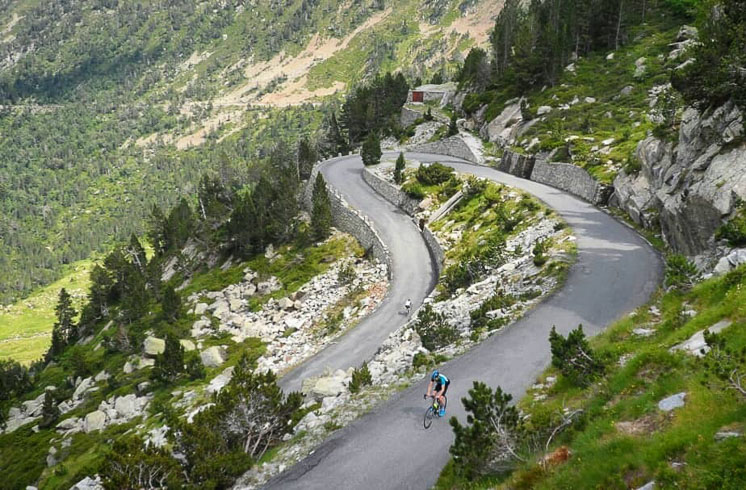 A DuVine cyclist climbs the Col du Tourmalet pass in the French Pyrenees