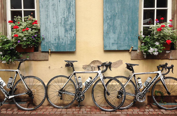 DuVine road bikes leaning against a building with blue shutters