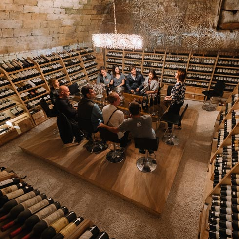 Private wine tasting in the cellar of Chateau Beychevelle in Bordeaux