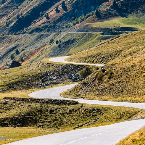 Winding roads in the French Alps