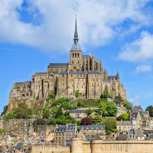 The island of Mont Saint-Michel, 1 km from the coast in Normandy, France