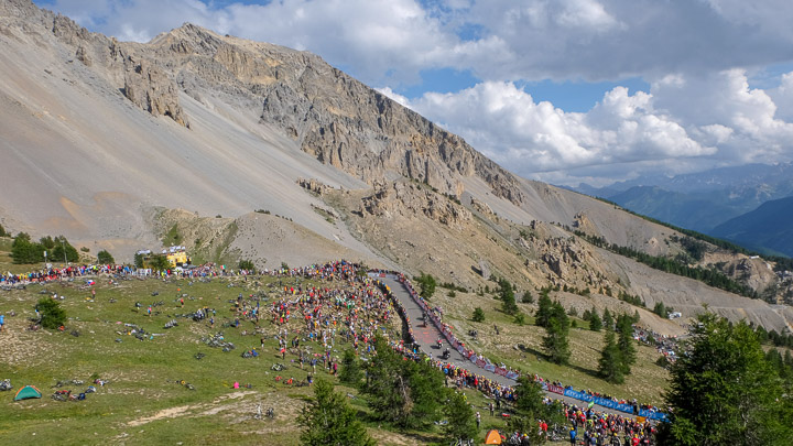 Spectators gathered at a stage viewing in the French Alps during the Tour de France race
