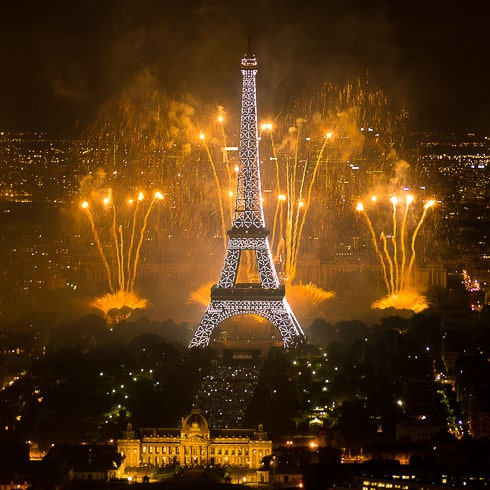 Fireworks over the Eiffel Tower on July 14, 2011